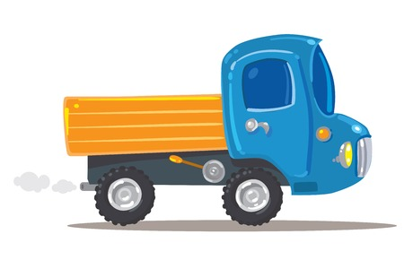 nice guy: Funny orange with blue toy truck  Children illustration