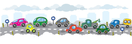 Vector illustration of small funny cars on the urban сity road  Çizim