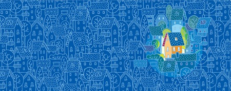 Greeting card with nice color house  sweet home  on monochrome blue pattern background with houses, trees and roofs Illusztráció