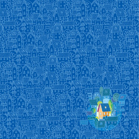 residental: Greeting card with nice color house  sweet home  on monochrome blue pattern background with houses, trees and roofs Illustration