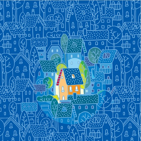 Greeting card with nice color house  sweet home  on monochrome blue pattern background with houses, trees and roofs Vector