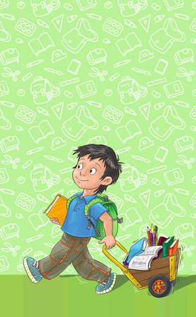 first grader: Template greeting card with schoolboy and place for you text  Stock Photo