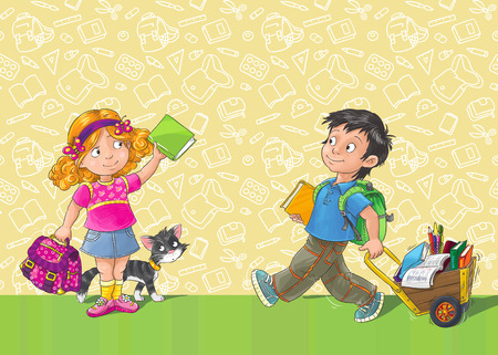 first grader: Poster with schoolboy and schoolgirl  first-grader , and place for you text  Stock Photo