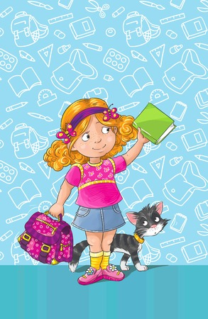 first grader: Template greeting card with smiley schoolgirl standing with a bag and book  And with a cat