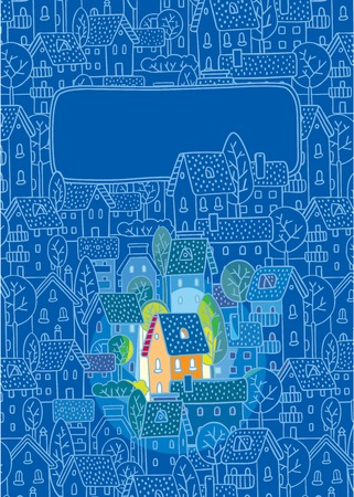 집, 나무와 지붕 흑백 파란색 패턴 배경에 좋은 색깔 하우스 스위트 홈 인사말 카드 일러스트