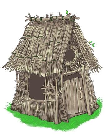 아기 돼지 삼형제 동화에서 막대기와 나뭇 가지의 요정 집