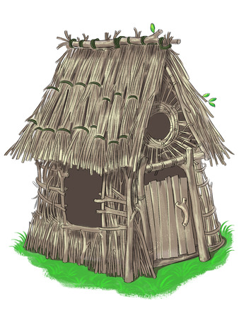 three little pigs: Fairy house of sticks and twigs  from Three Little Pigs fairy tale