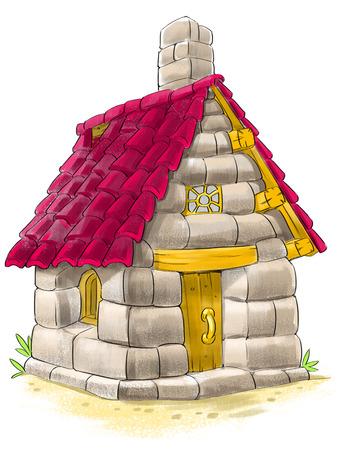 casita de dulces: Casa de hadas de ladrillos, baldosas y piedras de tres cerditos del cuento de hadas