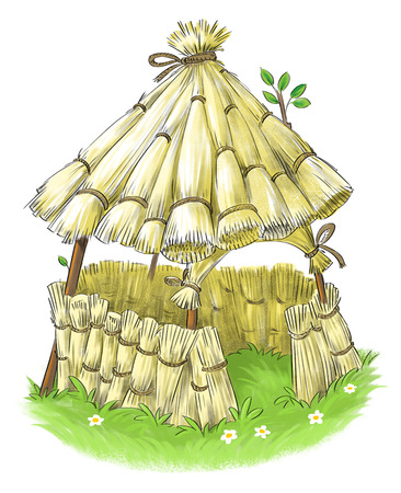 a house with a straw: Fairy straw house from Three Little Pigs fairy tale