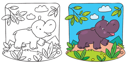 Coloring picture of little fun hippo running down the road Vector