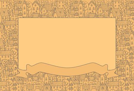 salumi affettati: Rettangolo cornice decorativa con una foto della citt� con strade e case con alberi e tetti Vettoriali