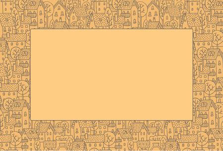 fiambres: Rectángulo marco decorativo con una imagen de la ciudad con calles y casas con árboles y tejados