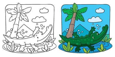 clumsy: Coloring picture of little funny crocodile swims in the small lake