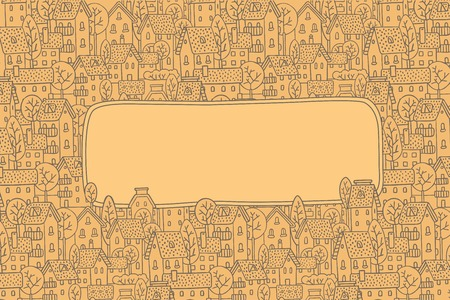 bezel: Greeting card with a vector picture of the city with streets and houses with trees and roofs and a window for text Illustration
