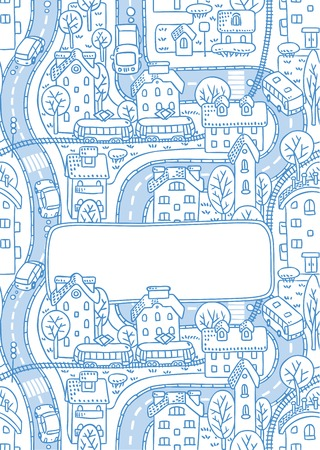 rail yard: Greeting card with a vector picture of the city with streets and houses with trees and roofs and a window for text Illustration