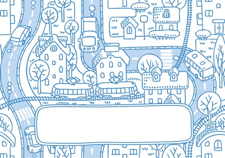 rail yard: Square double-sided greeting card with a vector picture of the city with streets and houses with trees and roofs and a window for text
