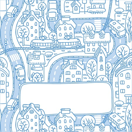 rail yard: Square greeting card with a vector picture of the city with streets and houses with trees and roofs and a window for text Illustration
