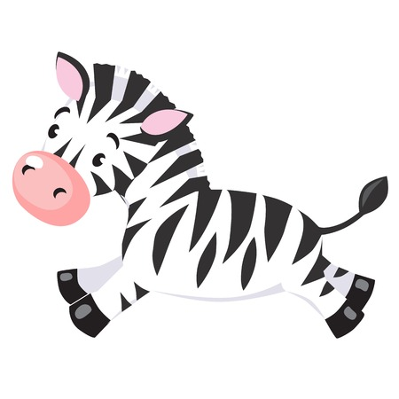 Vector cartoon character of little funny zebra  Children vector illustration