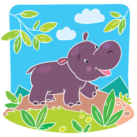 Children vector illustration of little fun hippo running down the road Vector