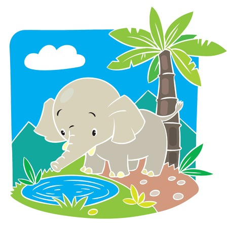Children vector illustration of elephant on a green lawn Vector