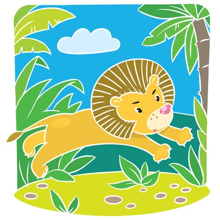 Children vector illustration of little fun lion jumping out of the jungle Vector