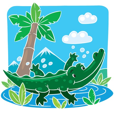 Children vector illustration of little funny crocodile  alligator  swims in the lake  Vector