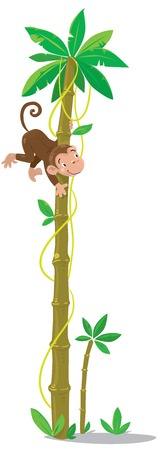 Big high palm tree with small funny monkey  Children vector illustration Vector