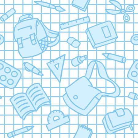 School seamless pattern of education equipment