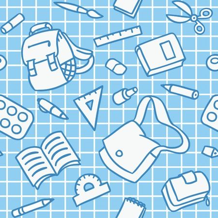School seamless pattern of education equipment
