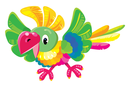 parakeet: Children illustration of funny parrot