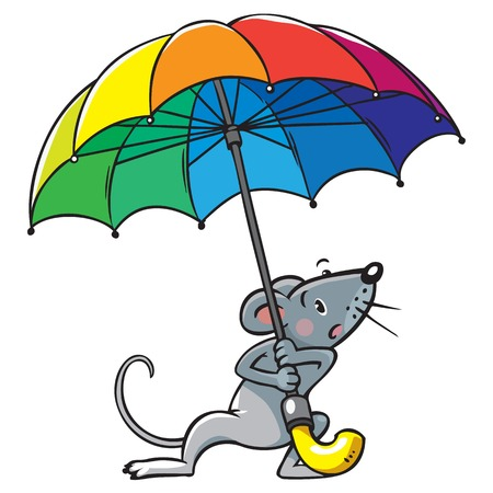 hard rain: Small funny poor mouse with umbrella