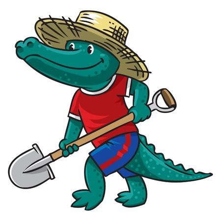 hardworking: Crocodile-farmer Illustration
