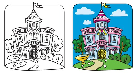 Fairy palace  Coloring book 向量圖像