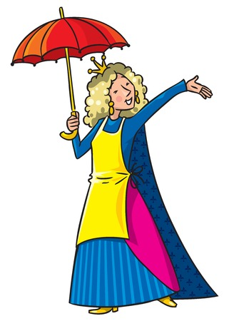 beautyful: Happy singing woman in crown with umbrella