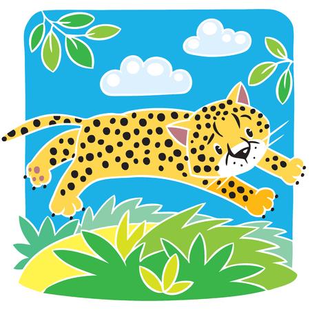 gepard: Little cheetah or jaguar coloring book