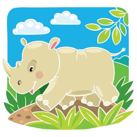 clumsy: Children vector illustration of little rhino