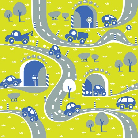 Cars on the road  Seamless pattern