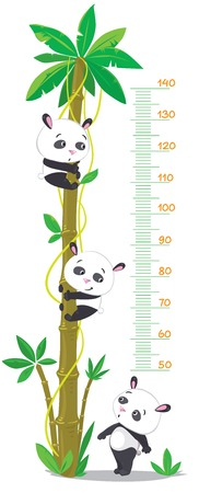 Meter wall with big high palm and three funny pandas.  Vector