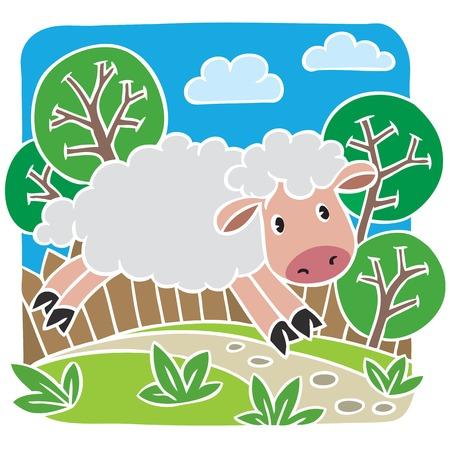 Children vector illustration of little sheep Vector