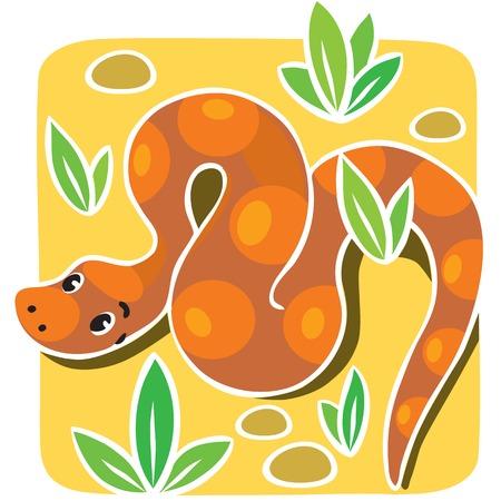 Children illustration of funny snake or boa, crawling through the desert.