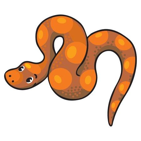 Children illustration of funny long crawling snake or boa