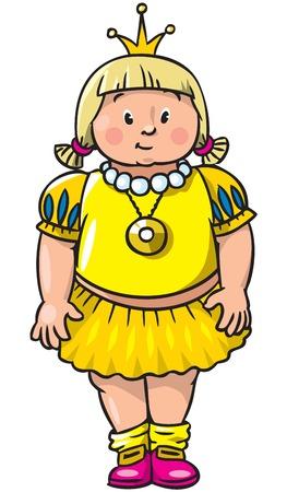 Child illustration of little fat girl or princess in medieval dress. Illustration