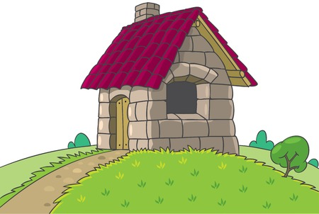 three little pigs: Fairy house from Three Little Pigs fairy tale
