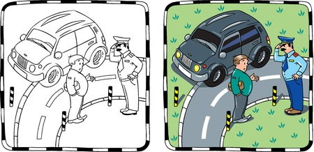 trespasser: Policeman and car driver. Coloring book Illustration