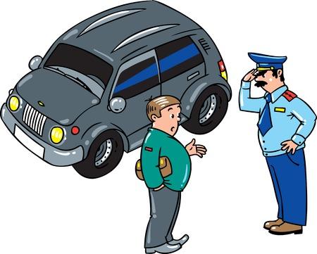 경찰관이 차를 멈추고 운전사와 이야기했다.