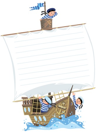 Banner with ship and happy sailors