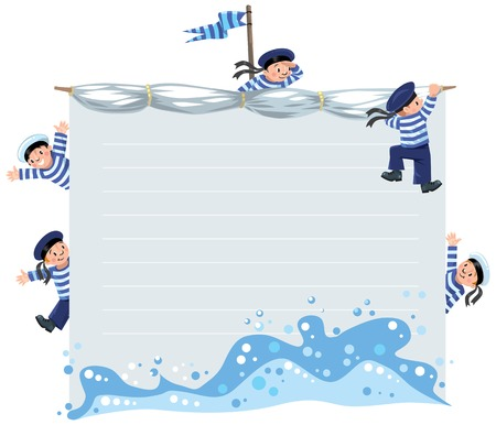 Banner or card with happy sailors Vectores