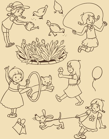 yelp: Seamless pattern or picture set of small girls playing in the yard with cats and dogs, watering flowers, jumping and eating ice cream