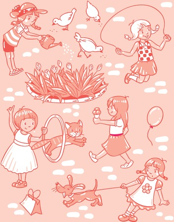 Seamless pattern or picture set of small girls playing in the yard with cats and dogs, watering flowers, jumping and eating ice cream