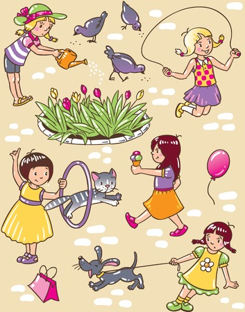 Seamless pattern or picture set of small girls playing in the yard with cats and dogs Vector